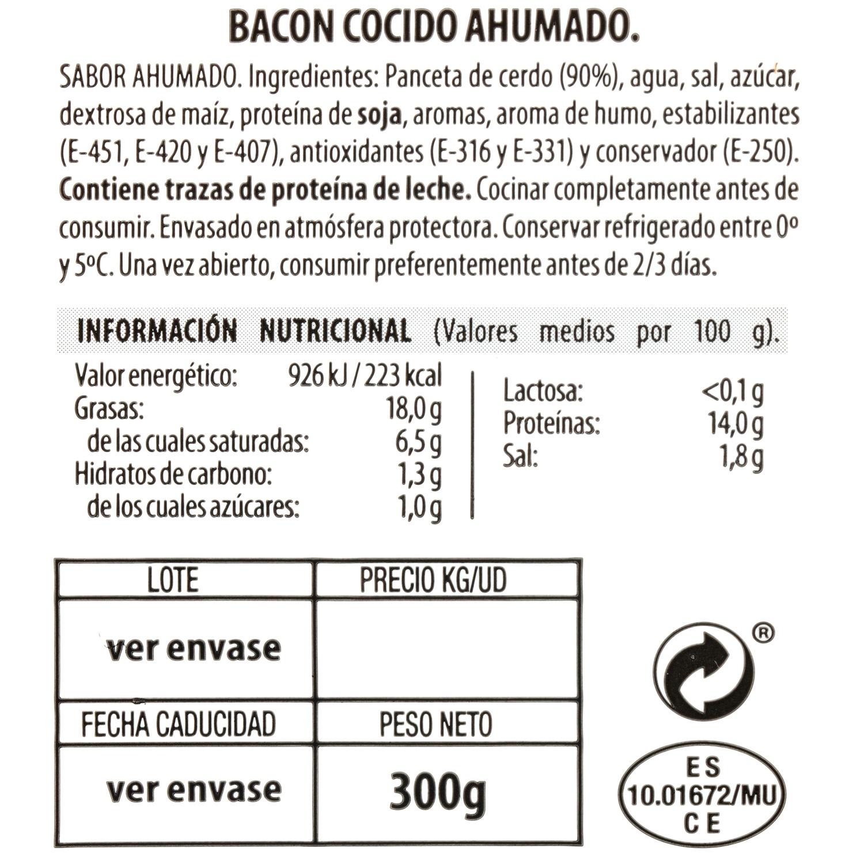Bacon ahumado lonchas El Pozo envase 300 g - 3