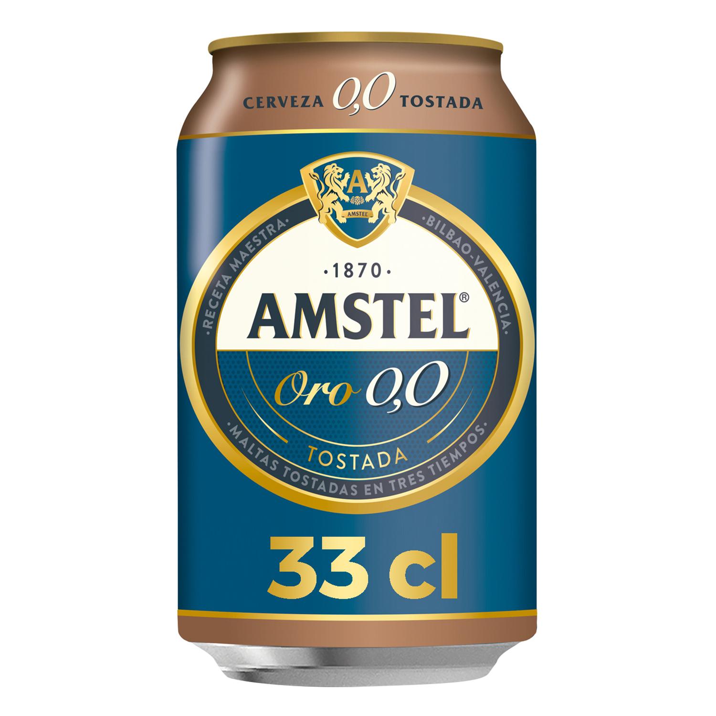 Cerveza Amstel Oro 0,0 tostada lata 33 cl.
