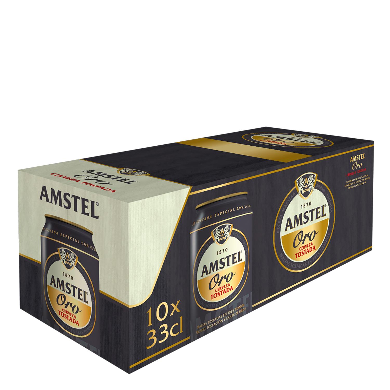 Cerveza Amstel Oro tostada pack de 10 latas de 33 cl.