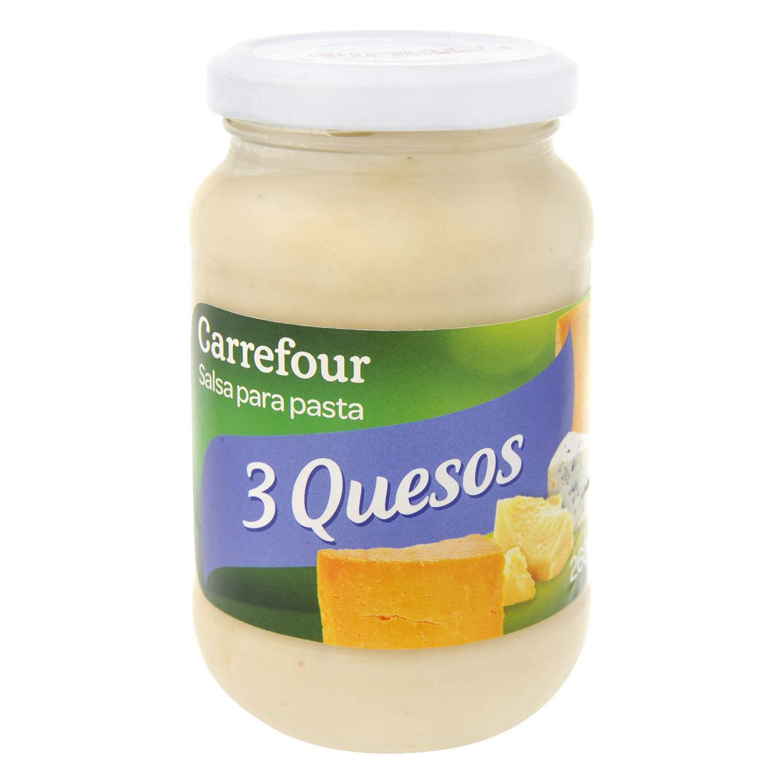 Salsa tres quesos Carrefour tarro 260 g.