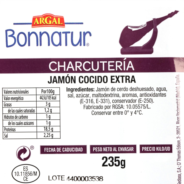 Jamón cocido extra sin fosfatos Bonnatur 235 g - 3