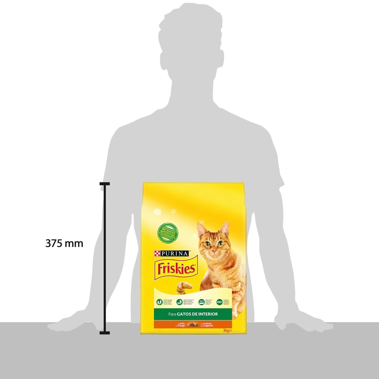 Purina Friskies Pienso para Gato Control Bolas de Pelo Gato de Interior Pollo y Verduras 3Kg - 3