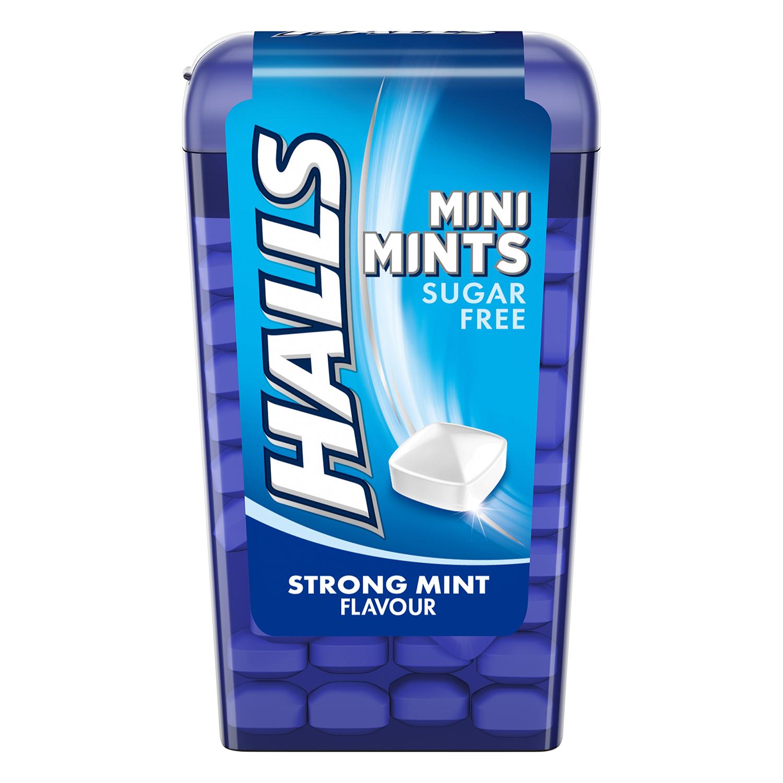 Caramelos sabor menta mini mints sin azúcar Halls 12,5 g.