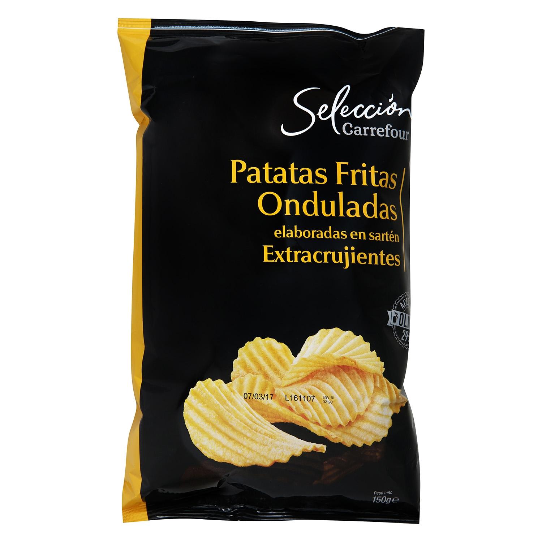 Patatas fritas onduladas en aceite de oliva  Carrefour Selección 130 g.