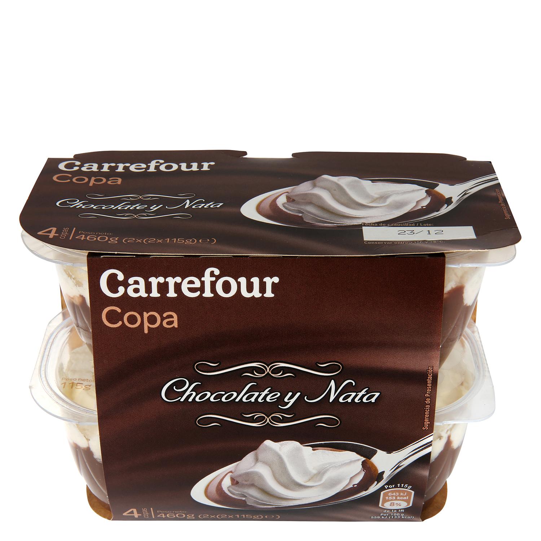 Copa de chocolate con nata Carrefour pack de 4 unidades de 115 g.