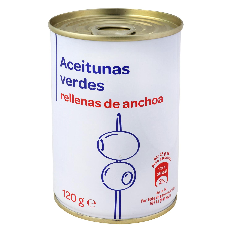 Aceitunas verdes Producto blanco rellenas de anchoa 120 g.