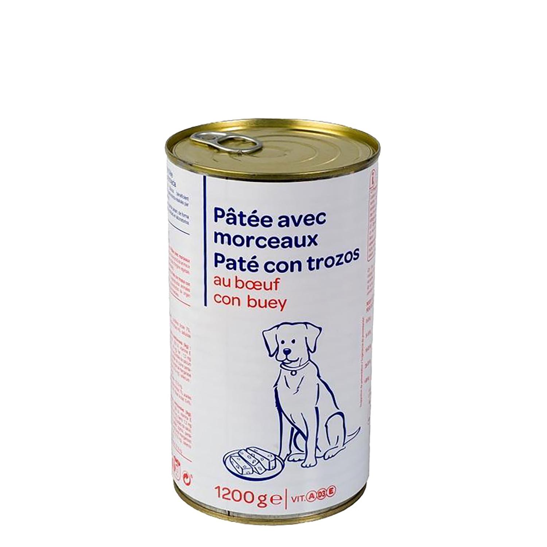 Lata Pate con Trozos de Buey para Perros