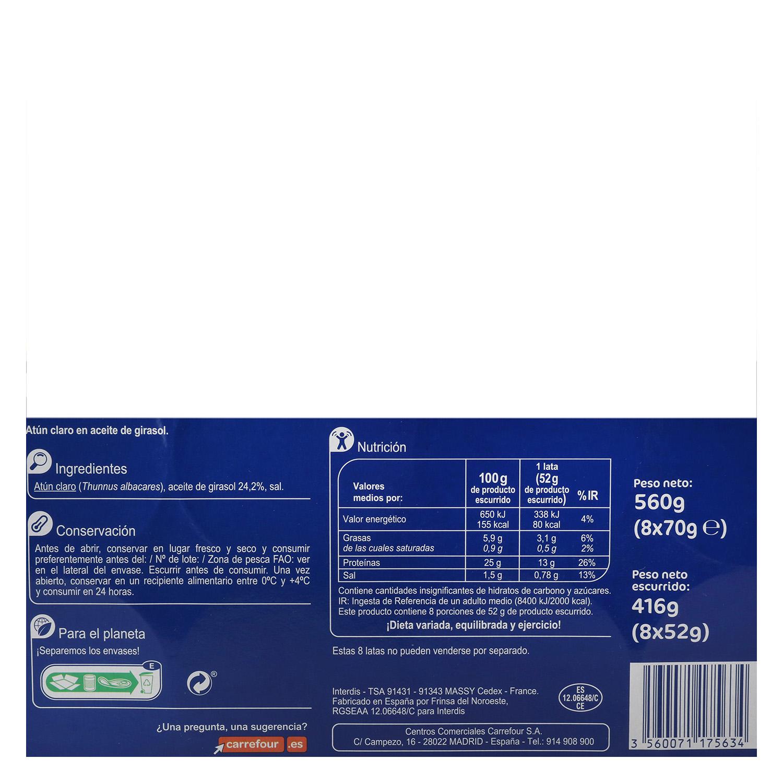 Atún claro en aceite de girasol Carrefour pack de 8 unidades de 52 g. -