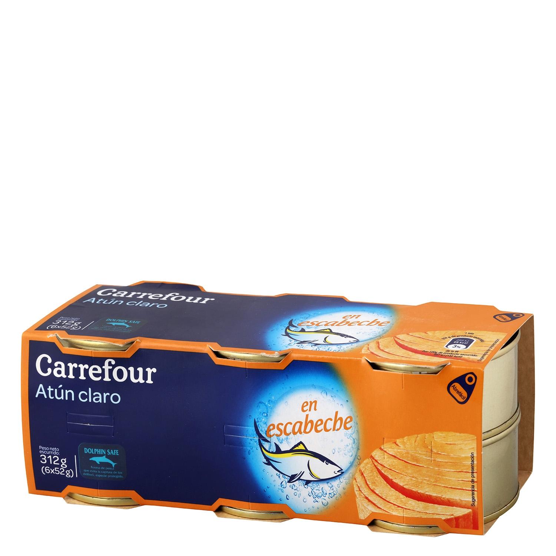 Atún claro en escabeche Carrefour pack de 6 unidades de 52 g.