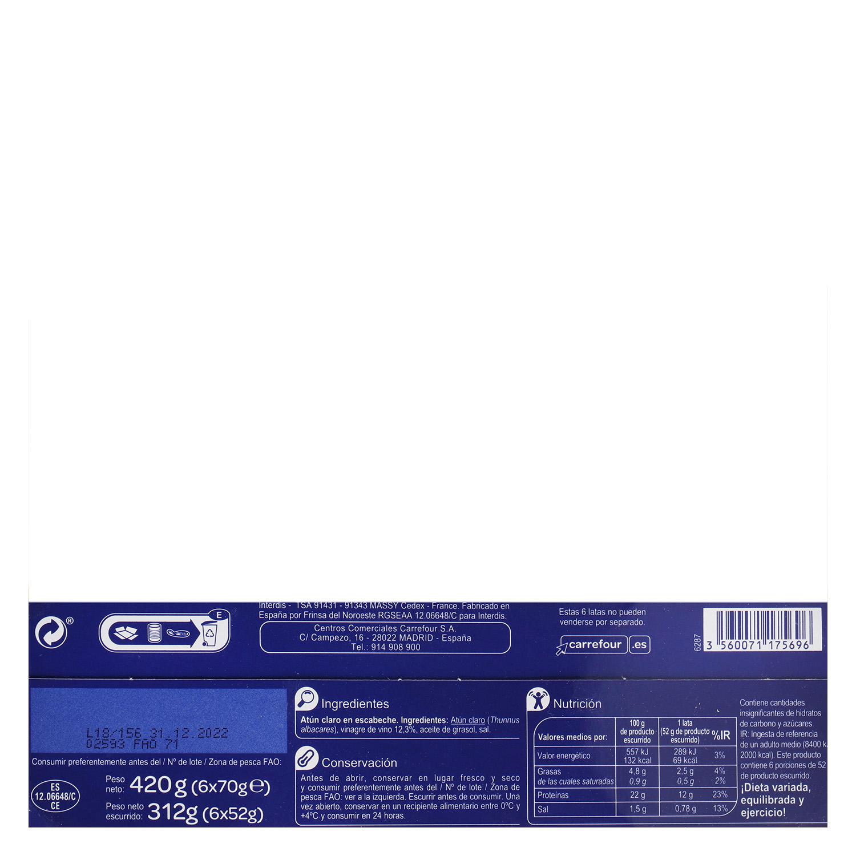 Atún claro en escabeche Carrefour pack de 6 unidades de 52 g. -