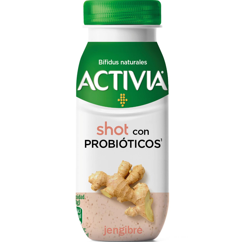 Yogur líquido shot semidesnatado con probióticos y jengibre Danone Activia 80 g.
