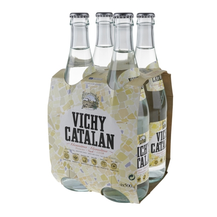 Agua mineral Vichy Catalán natural con gas pack de 4 botellas de vidrio de 50 cl.