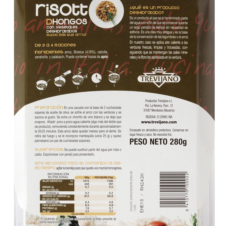 Risotto de hongos deshidratado Trevijano envase 280 g -