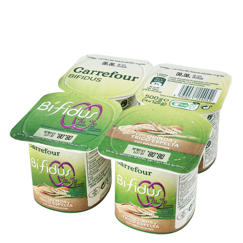 Yogur bífidus desnatado con quinoa y trigo de espelta Carrefour pack de 4 unidades de 125 g.