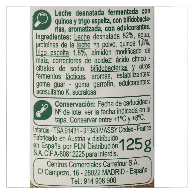 Yogur bífidus desnatado con quinoa y trigo de espelta Carrefour pack de 4 unidades de 125 g. - 2
