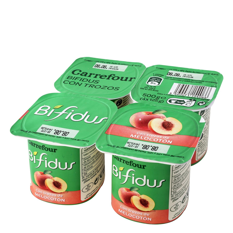 Yogur bífidus con trozos de melocotón Carrefour pack de 4 unidades de 125 g.