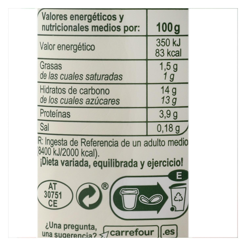 Yogur bífidus con trozos de melocotón Carrefour pack de 4 unidades de 125 g. -