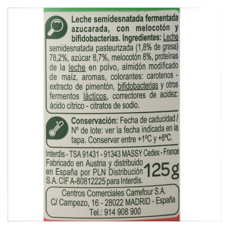 Yogur bífidus con trozos de melocotón Carrefour pack de 4 unidades de 125 g. - 2