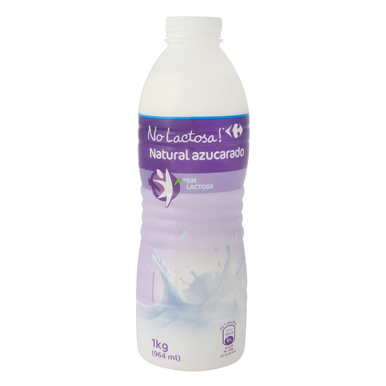 Yogur líquido natural azucarado Carrefour sin Lactosa 1 kg.