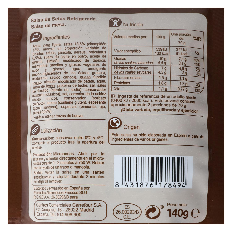 Salsa con setas Carrefour sobre 140 g. -