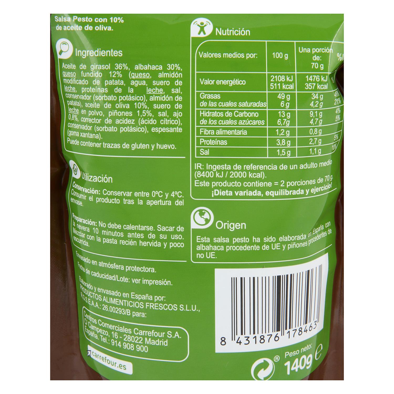 Salsa pesto Carrefour bolsita 140 g. -