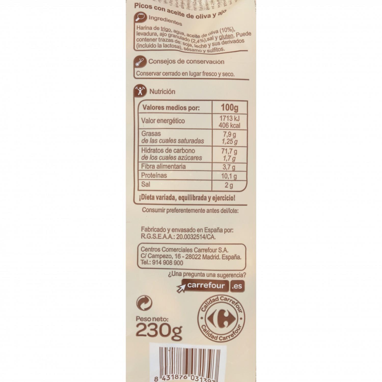 Picos de pan artesanos con aceite de oliva y ajo Carrefour 175 g - 2