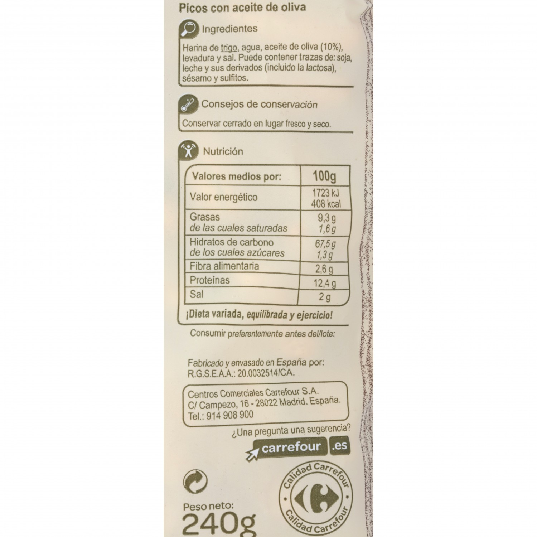 Picos de pan artesanos con aceite de oliva Carrefour 175 g - 2