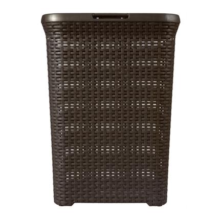 Cesto pongotodo marrón con tapa 60 litros relieve efecto Rattan Mod. Style