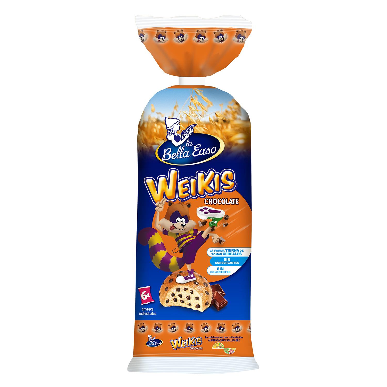 Bollo con pepitas de chocolate Weikis 6 ud.