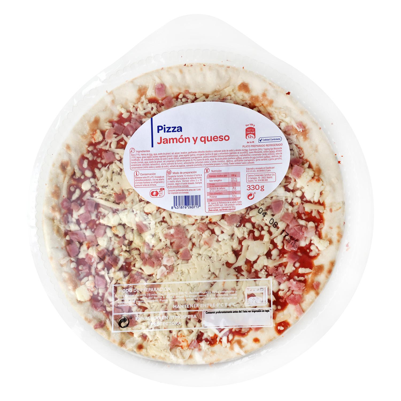 Pizza Jamón y queso Producto blanco 330 g.