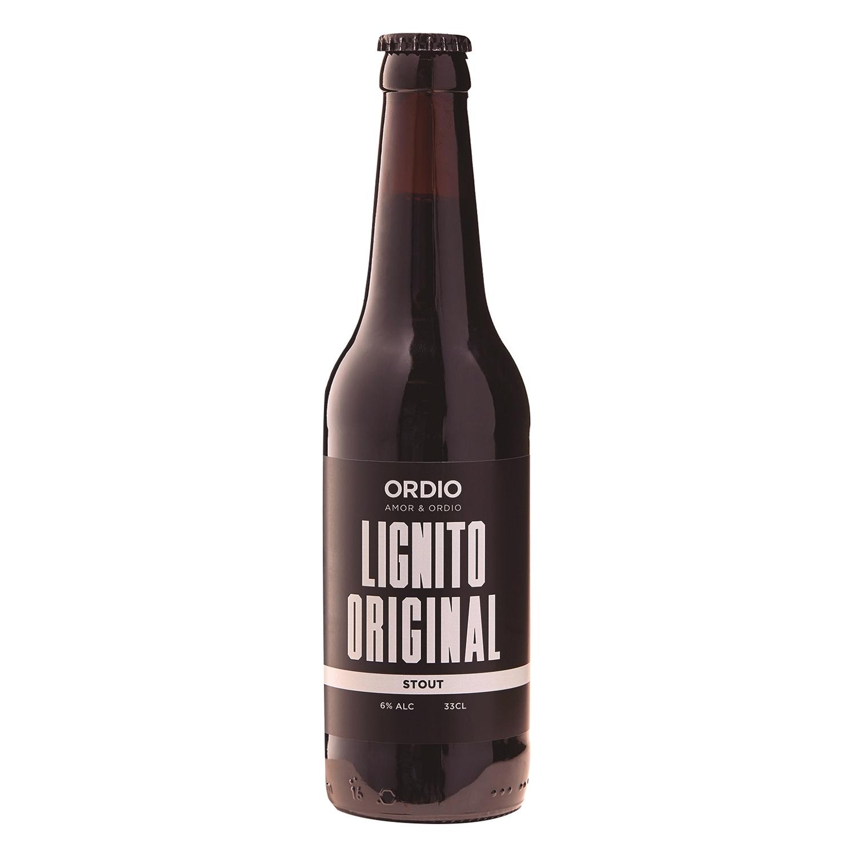 Cerveza artesana Ordio Minero Lignito negra botella 33 cl.