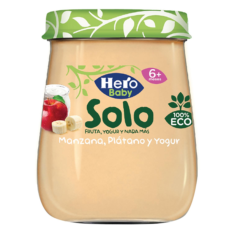 Tarrito de manzana, plátano y yogur desde 6 meses ecológico Hero Baby Solo 120 g.
