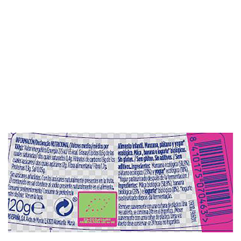 Tarrito de manzana, plátano y yogur desde 6 meses ecológico Hero Baby Solo 120 g. -