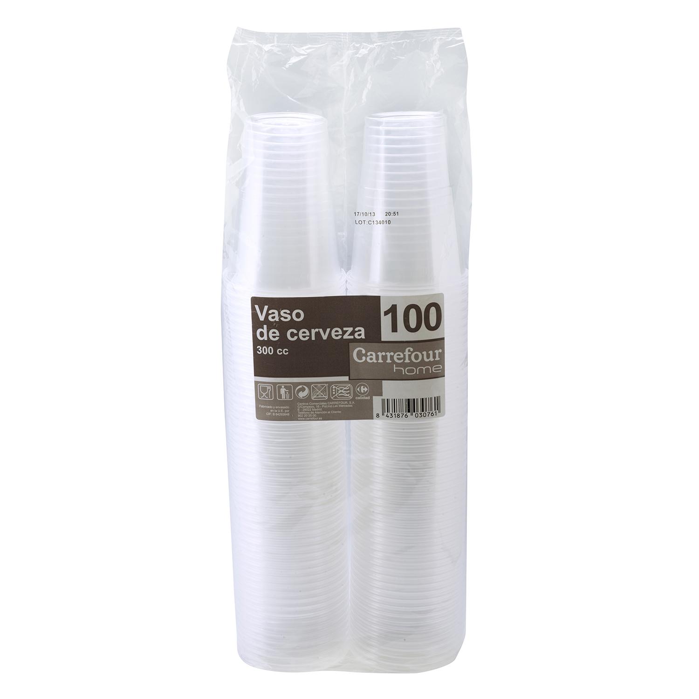 100 Vasos de Plástico CARREFOUR HOME  7,9x64,65cm - Transparente