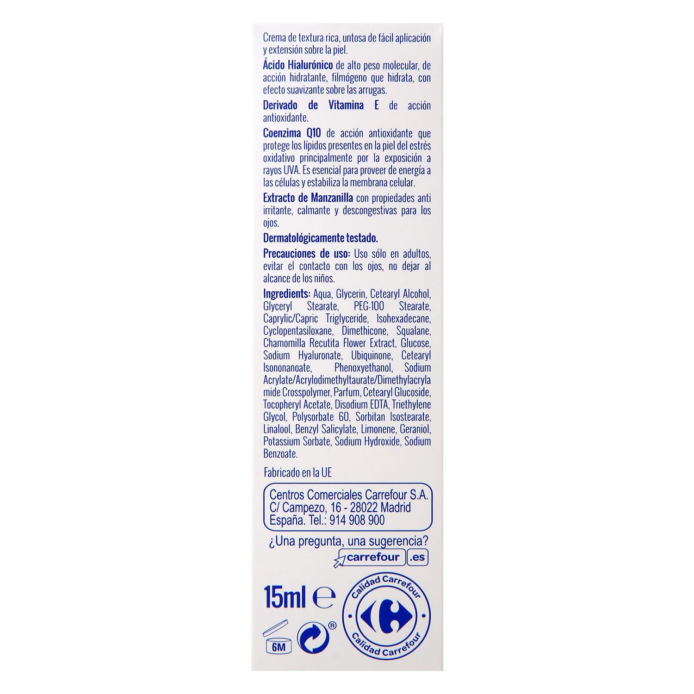 Contorno de ojos Q10 Antiarrugas con Ácido Hialurónico Carrefour 15 ml. - 3