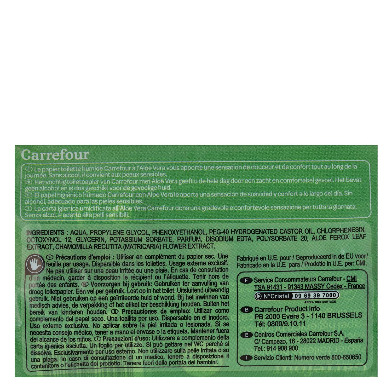 Papel higiénico húmedo aloe vera Carrefour pack de 2 paquetes de 60 ud. - 2
