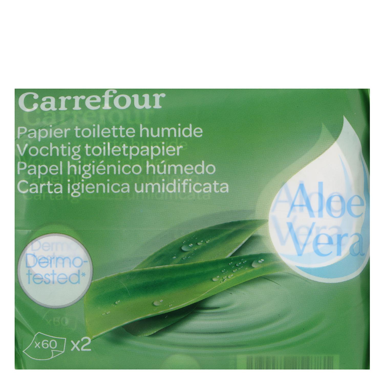 Papel higiénico húmedo aloe vera Carrefour pack de 2 paquetes de 60 ud. -