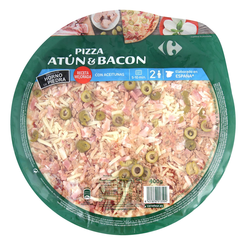Pizza fresca de atún y bacon Carrefour 400 g.