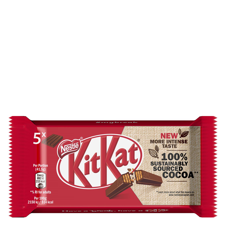 Barrita de galleta crujiente cubierta de chocolate Nestlé Kit Kat 6 unidades de 41,5 g.