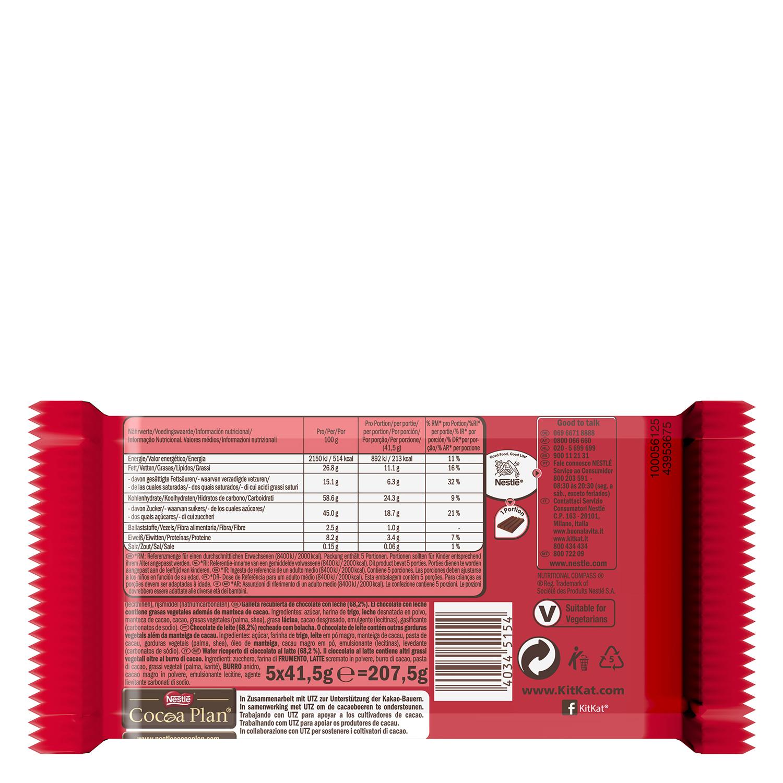 Barrita de galleta crujiente cubierta de chocolate Nestlé Kit Kat 6 unidades de 41,5 g. -