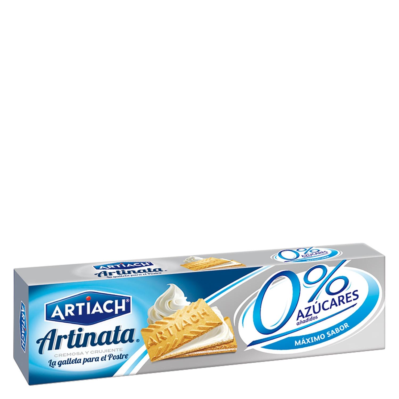 Galletas de barquillo rellenas de crema 0 % azúcares añadidos Artiach 175 g.