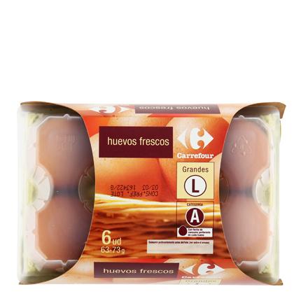 Huevos L Carrefour 6 ud -