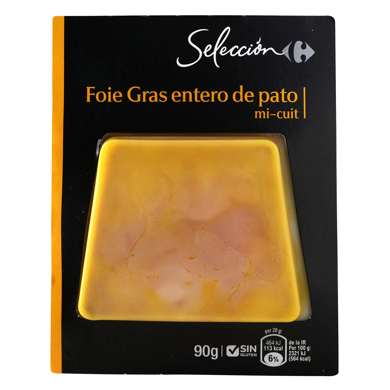 Foie Gras entero de pato mi cuit Carrefour Selección sin gluten 90 g.