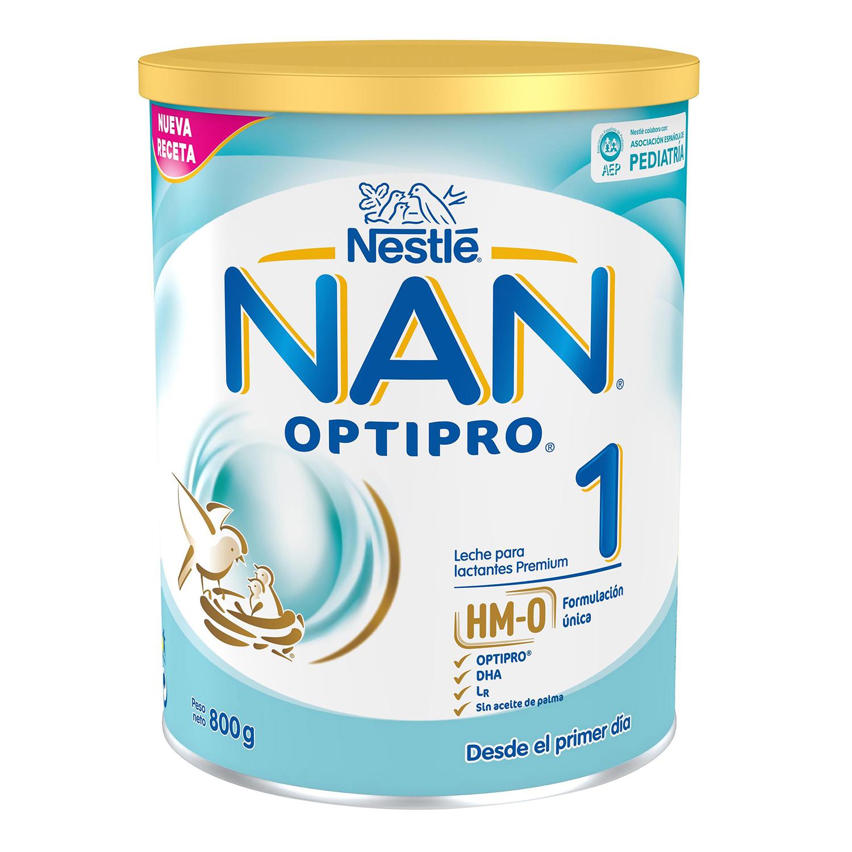 Leche infantil para lactantes desde el primer día en polvo Nestlé Nan Optipro 1 lata sin aceite de palma 800 g.