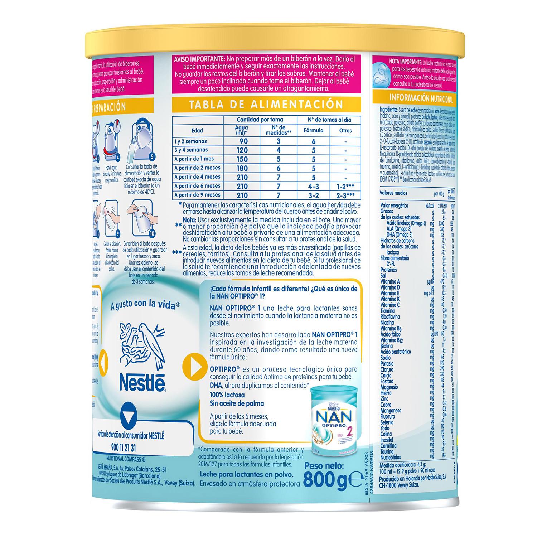 Leche infantil para lactantes desde el primer día en polvo Nestlé Nan Optipro 1 lata sin aceite de palma 800 g. - 3