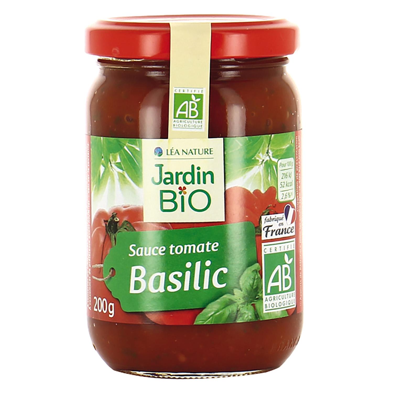 Salsa de tomate con albahaca ecológico Jardin Bio tarro 200 g.
