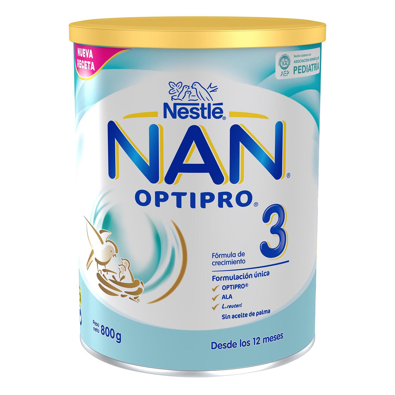 Leche infantil de crecimiento desde 12 meses en polvo Nestlé Nan Optipro 3 sin aceite de palma lata 800 g.