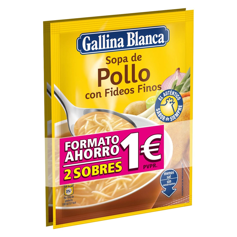 Sopa de pollo con fideos finos Gallina Blanca pack de 2 sobre de 71 g.
