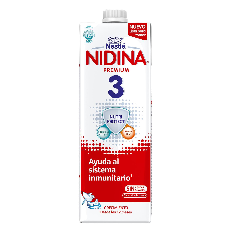 Leche infantil de crecimiento desde los 12 meses Nestlé Nidina Premium 3 brik de 1 l.