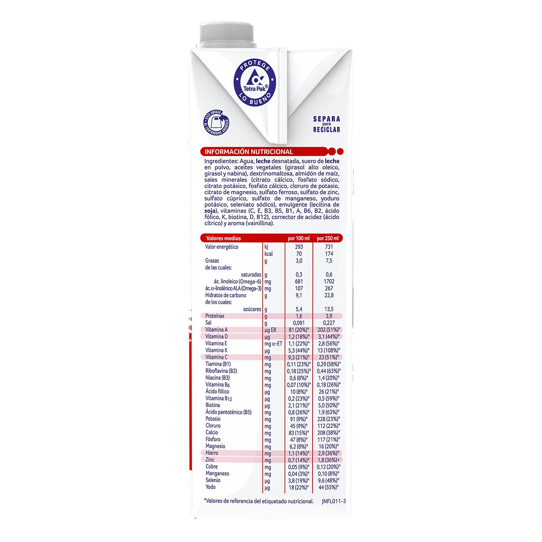 Leche infantil de crecimiento desde los 12 meses Nestlé Nidina Premium 3 brik de 1 l. -